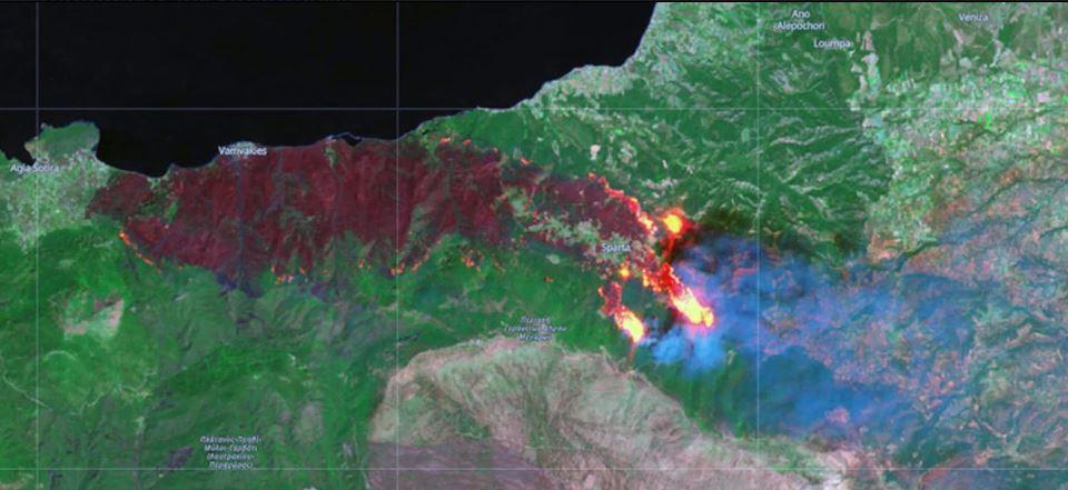 Συγκλονιστικές εικόνες από τη φωτιά στην Κορινθία -Ο ευρωπαϊκός δορυφόρος δείχνει την καμένη γη!