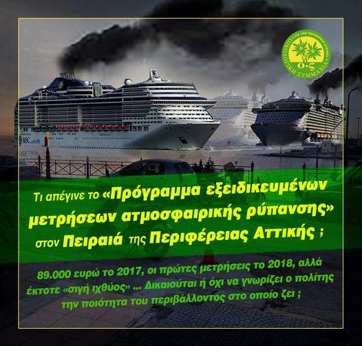 πρόγραμμα εξειδικευμένων μετρήσεων της ατμοσφαιρικής ρύπανσης στον Πειραια