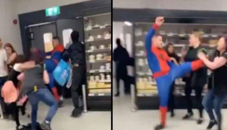 Απίστευτο ξύλο σε σούπερ μάρκετ: Ντυμένος Spiderman μοίραζε μπουνιές και κλωτσιές (video)